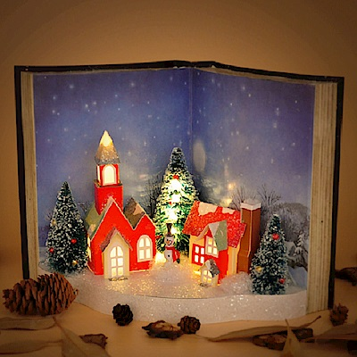 法國三寶貝 聖誕節復古雪人房屋書本LED燈飾擺飾