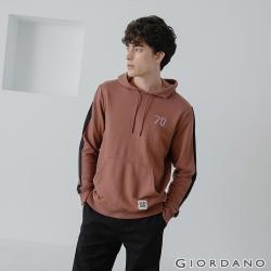 GIORDANO 男裝 Retro Wave復古風連帽T恤-62 黑褐色