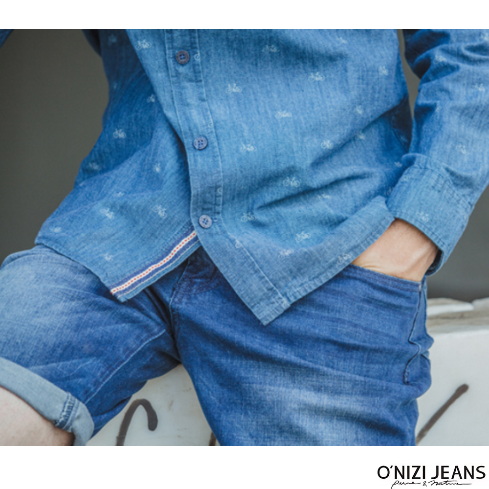 onizi織帶剪接牛仔短褲-男-藍