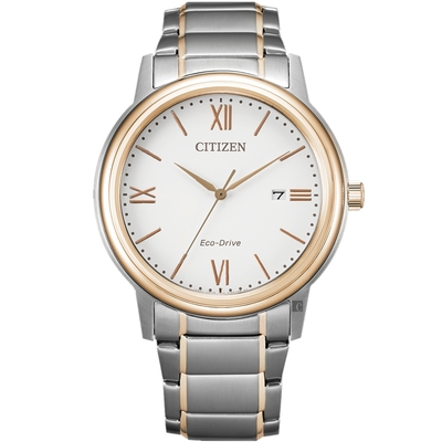 CITIZEN 星辰 光動能城市手錶-銀x玫瑰金 AW1676-86A