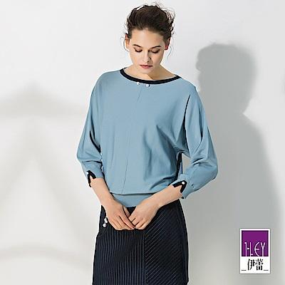 ILEY伊蕾 配色寬版連袖針織上衣(藍)