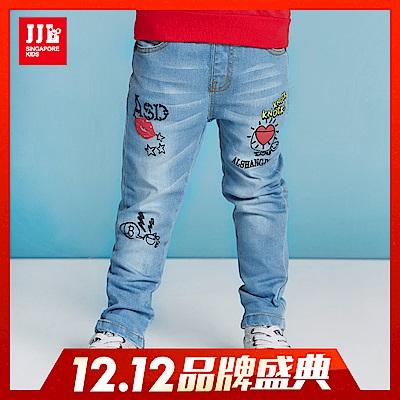 JJLKIDS 淘氣塗鴉淺水洗牛仔褲(牛仔藍)
