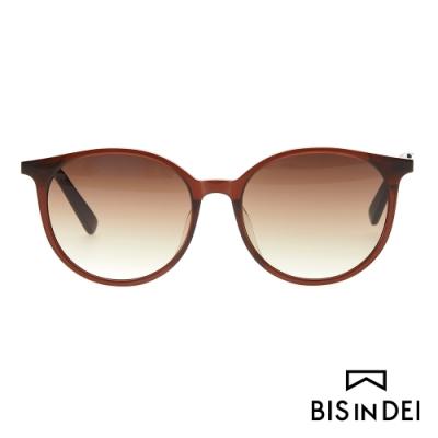 BIS IN DEI 秀氣簡約圓框太陽眼鏡-棕