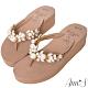 Ann'S氣質珍珠水鑽厚底夾腳涼拖鞋 product thumbnail 1