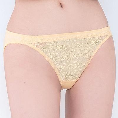 思薇爾 晨曦系列M-XL蕾絲低腰三角內褲(霞金色)