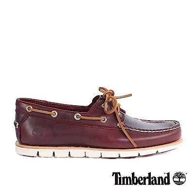 Timberland 男款酒紅色粒面皮革經典帆船鞋