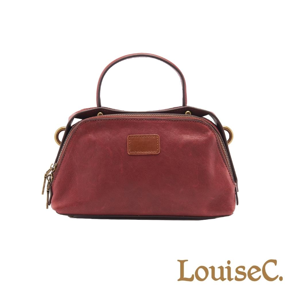 【LouiseC.】植鞣革牛皮雙分隔層手提包-酒紅色 (WI91202-01)
