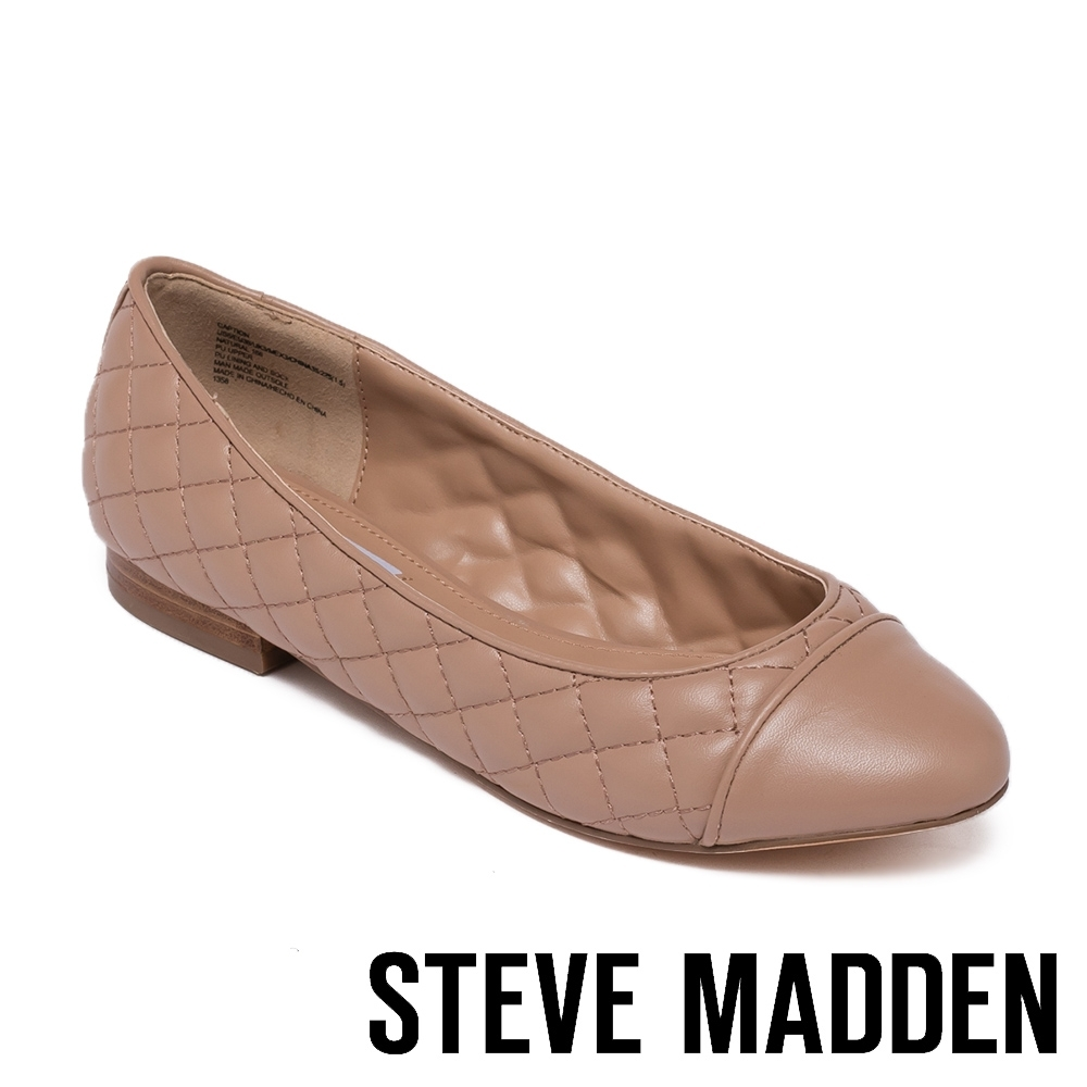 STEVE MADDEN-CAPTION 拼接菱格紋皮質平底女鞋-粉膚色