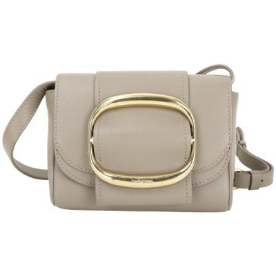 SEE BY CHLOE Hopper 迷你款 金屬環釦飾牛皮斜背包(卡其灰)