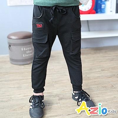 Azio Kids 褲子 17綁帶雙口袋縮褲管長褲(黑)