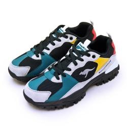 KangaROOS 經典撞色復古越野慢跑鞋 JOGGER藍標老爹鞋系列 黑灰彩 91281