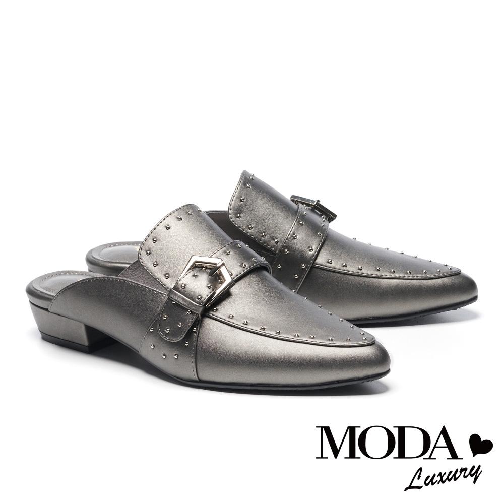 拖鞋 MODA Luxury 復古個性鉚釘點綴尖頭低跟穆勒拖鞋-古銅