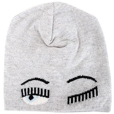 Chiara Ferragni Beanie Flirting 灰色眨眼美麗諾羊毛針織帽