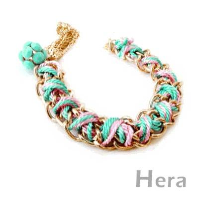 Hera赫拉 螢光彩色編織流蘇寶石手鍊(螢光藍)
