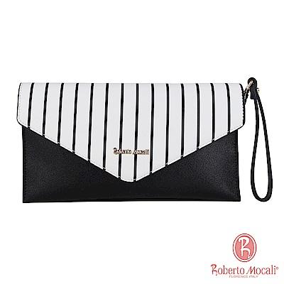 Roberto Mocali - 義大利諾貝兔黑白條紋手拿包