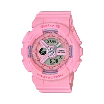 CASIO 卡西歐BABY-G 粉嫩花朵多層次雙顯電子錶-桃粉紅(BA-110-4A1)