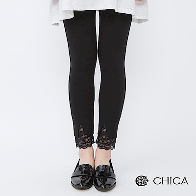 CHICA 簡約百搭拼接蕾絲純色內搭褲(1色)