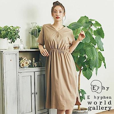 E hyphen V領鬆緊腰設計短袖洋裝