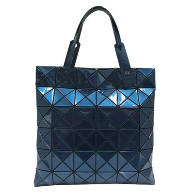 ISSEY MIYAKE 三宅一生BAOBAO金屬亮面方格6x6手提包-藍色