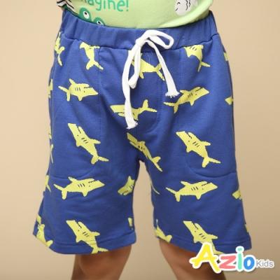 Azio Kids 男童 短褲 滿版鯊魚印花休閒運動短褲(藍)