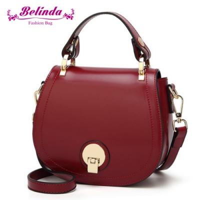【Belinda】貝芙爾馬鞍圓扣手提側背包(酒紅色)