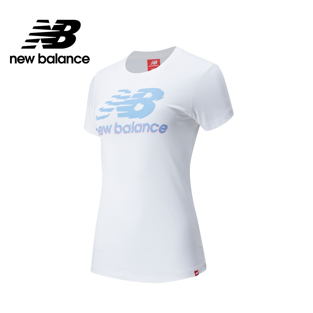 【New Balance】視覺Logo短袖上衣_女性_白色_AWT01541WT