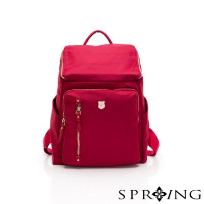 SPRING-未來質感系列掀蓋尼龍後背包-寶石紅