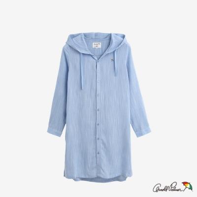 Arnold Palmer-女裝-LINEN RAYON長版連帽外套-藍