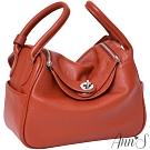 Ann'S名媛時尚-立體大空間真皮牛皮手提肩背兩用包-橘紅