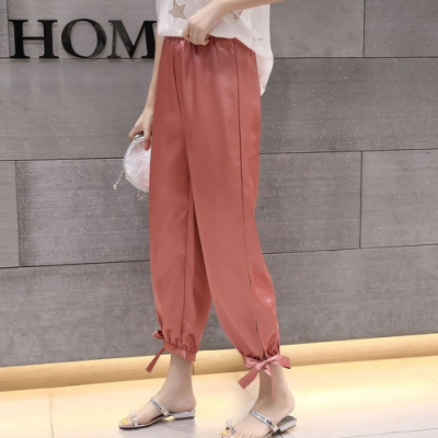 IMStyle  大碼韓版寬鬆高腰九分綁帶縮口褲【正品】