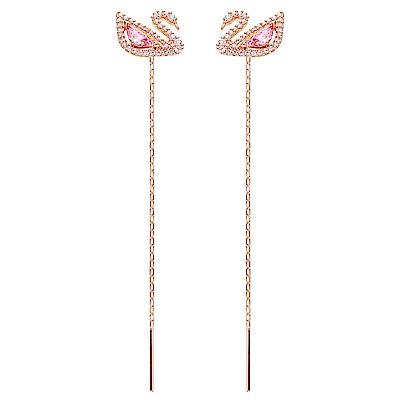 SWAROVSKI施華洛世奇 DAZZLING粉紅天鵝水晶長版耳環