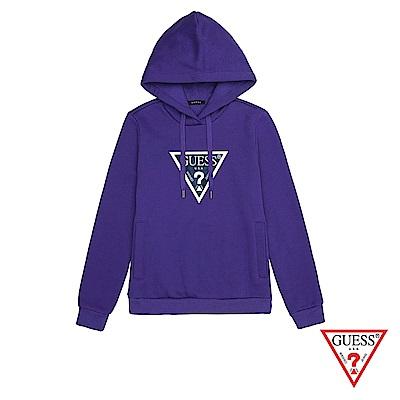 GUESS-女裝-LOGO拚色長袖帽T-紫