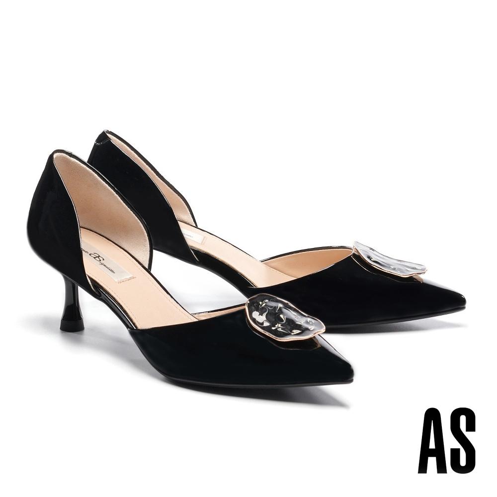 高跟鞋 AS 優雅時尚不規則飾釦全真皮尖頭高跟鞋-黑
