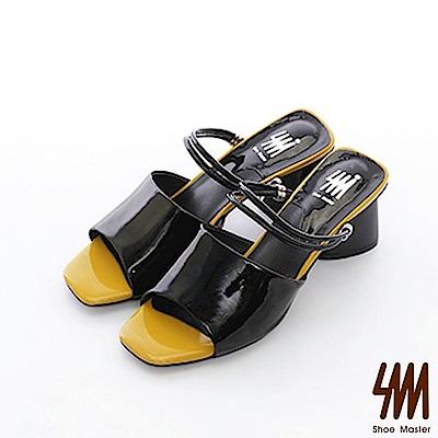【SM】復古時尚系列--歐美時尚復古撞色兩穿方頭中高粗跟涼鞋(2色)