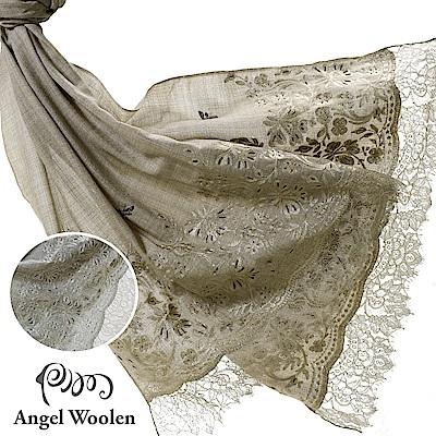 【Angel Woolen】恬靜蛻變印度Pashmina手工蕾絲刺繡披肩(共兩色)