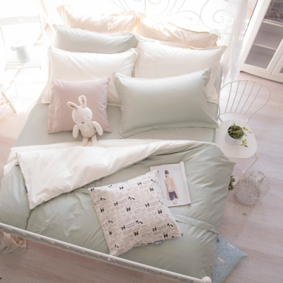 OLIVIA  TWINS 綠X米白 特大雙人床包歐式枕套三件組 MOC莫代爾棉 台灣製
