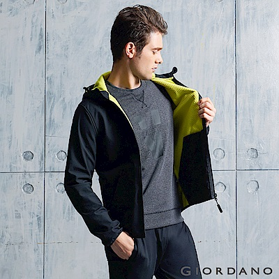 GIORDANO G-MOTION系列 防風保暖搖絨布連帽修身夾克 - 99 標誌黑