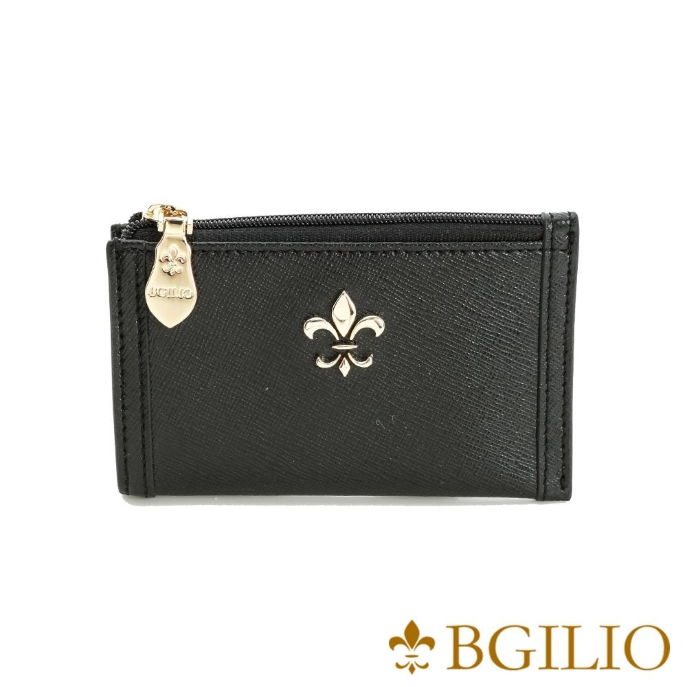 義大利BGilio-十字紋牛皮零錢鑰匙包-黑色 (1736.322-05)