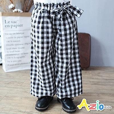 Azio Kids 長褲  綁帶黑白格紋鬆緊腰寬褲(黑)