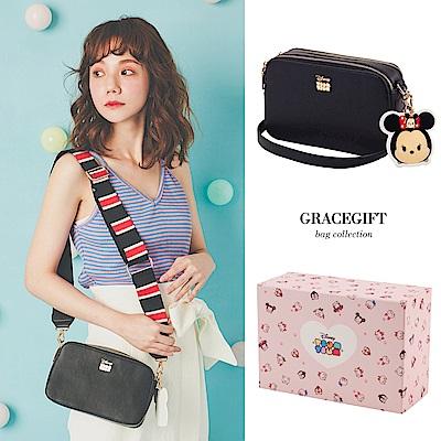 Disney collection by Grace gift-TSUM TSUM寬帶側背包 黑