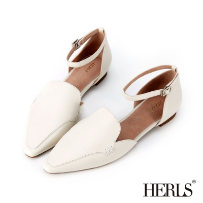 HERLS 優雅小姐 全真皮素面踝帶尖頭平底鞋-白色