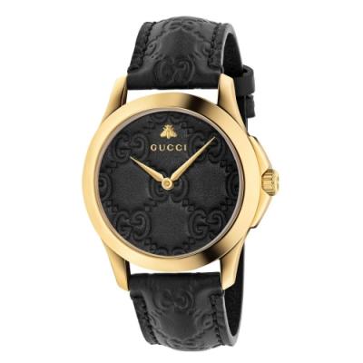 GUCCI G-TIMELESS設計款黑金時尚腕錶38mm(YA1264034)