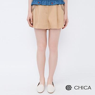 CHICA 活力學院側拼接織帶設計短褲(2色)