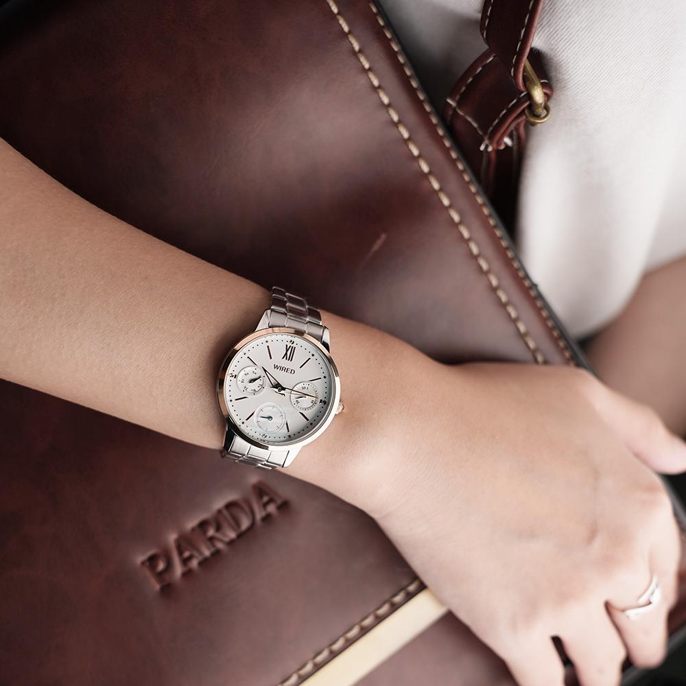 WIRED 東京時尚日曆女錶(AY8041X1)-銀x雙色/32mm