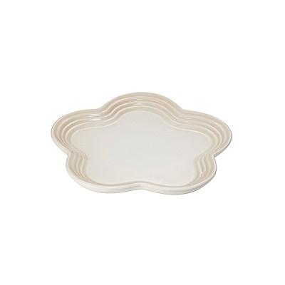 LE CREUSET瓷器花型盤19cm(蛋白霜)
