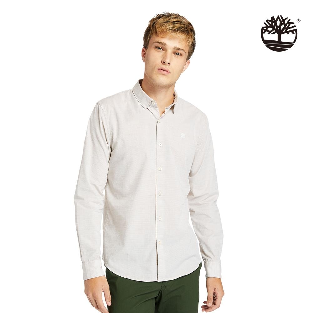 Timberland 男款淺泥土色樹型LOGO有機棉長袖襯衫|A24ME
