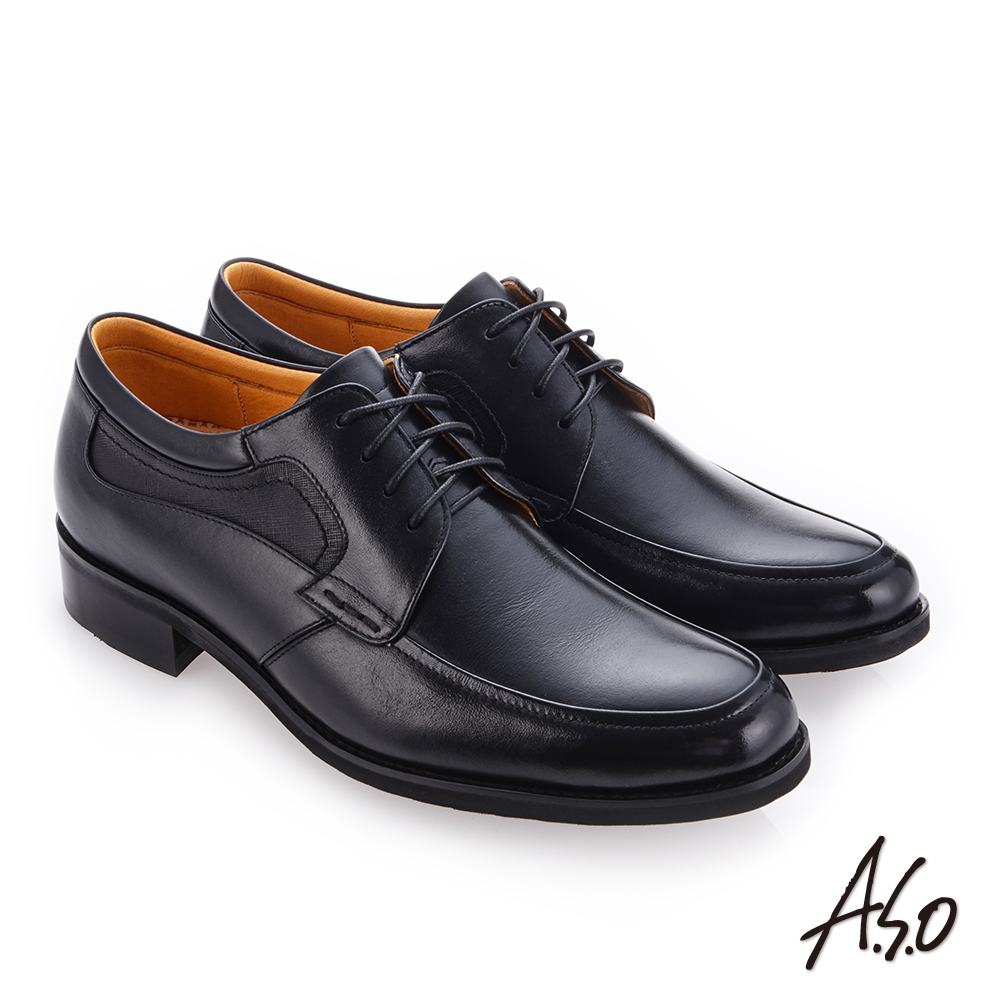 A.S.O 霸足氣墊 綁帶牛皮奈米紳士皮鞋 黑