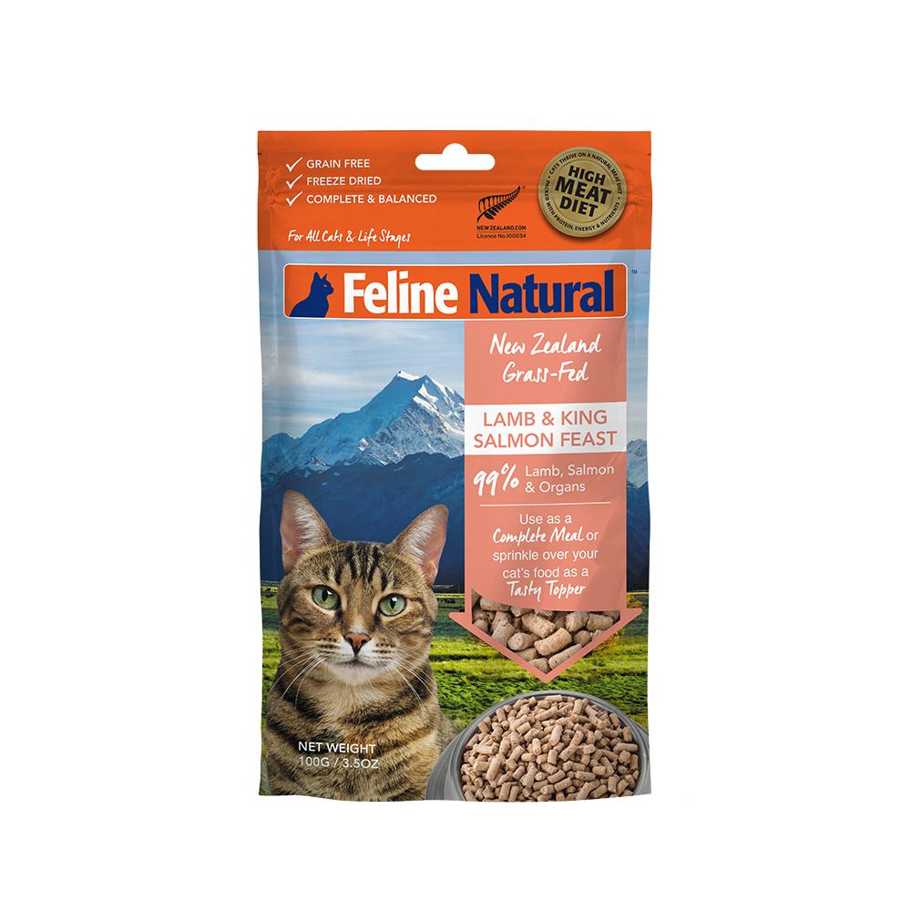 紐西蘭K9 Natural冷凍乾燥貓咪生食餐99% 羊肉+鮭魚  100G