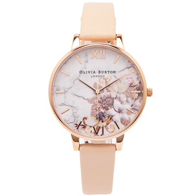 OLIVIA BURTON  大理石紋與花朵錶帶手錶(OB 16 CS 12 )-花朵面/ 38 mm