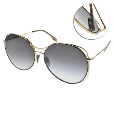 BURBERRY太陽眼鏡 流線雙槓設計款/黑金-漸層藍 # B3105 10178G